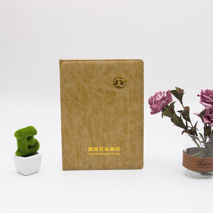 【HK-PU-008】黄色PU皮笔记本定做证书厂家精致烫金笔记本外壳制作证书订做